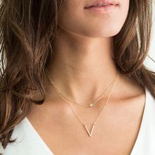 Fashion Double Layer Women Necklace Jewelry Gold V Bead Choker Necklace Pendant On Neck Clavicle Chain fashion women jewelry cute heart lock necklace gold silver chain choker necklace pendant on neck accessories