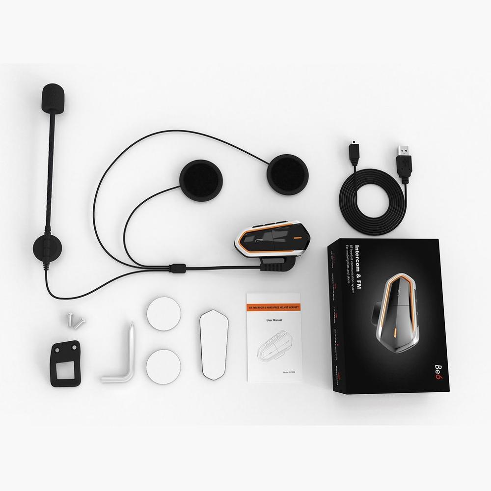 QTBE6 Motorcycle Helmet Intercom Headphones Wireless Intercom Handsfree Waterproof FM Radio Headset Motorcycle