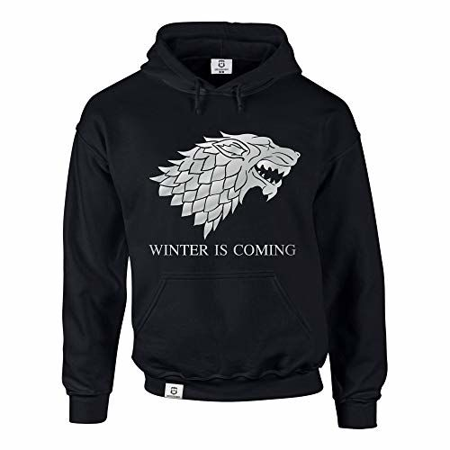 Shirtdepartment Hoodie Game Of Thrones Winter Is Coming Kapuzenpullover Schattenwolf, Schwarz-Silber, S