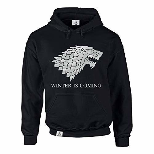 Shirtdepartment Hoodie Game Of Thrones Winter Is Coming Kapuzenpullover Schattenwolf, Schwarz-Silber, S