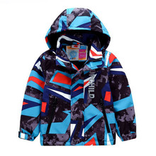 Sporty Geometric Print Kids Outfits Warm Fleece Child Coat Waterproof Baby Girls Boys Jackets Children Outerwear For 98 152cm
