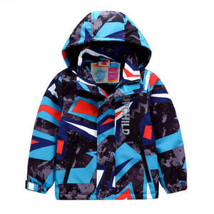 Image 1 - Sporty Geometric Print Kids Outfits Warm Fleece Child Coat Waterproof Baby Girls Boys Jackets Children Outerwear For 98 152cm