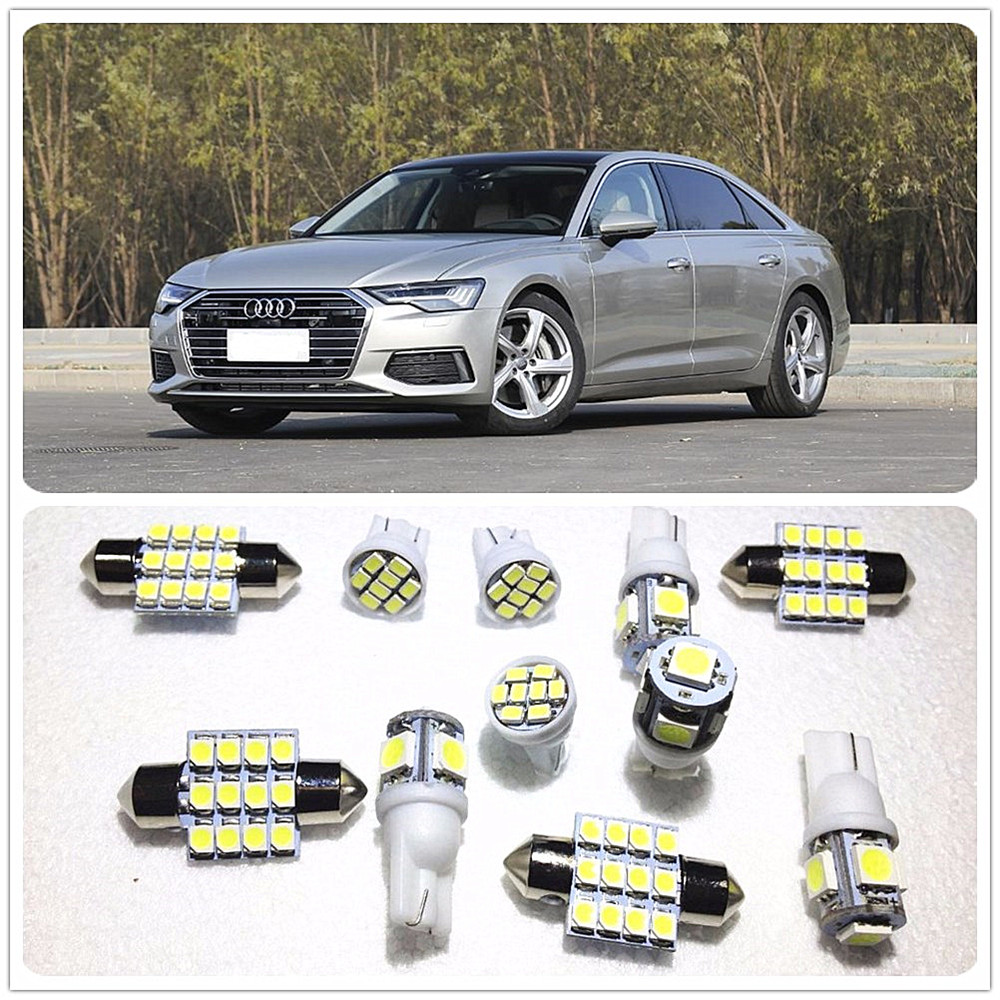 11 set White LED Lights Interior Package Map Dome For <font><b>Audi</b></font> A3 Quattro A4 allroad A4 Quattro A5 Quattro A1 A3 A4 A5 A6 A7 <font><b>A8</b></font> image