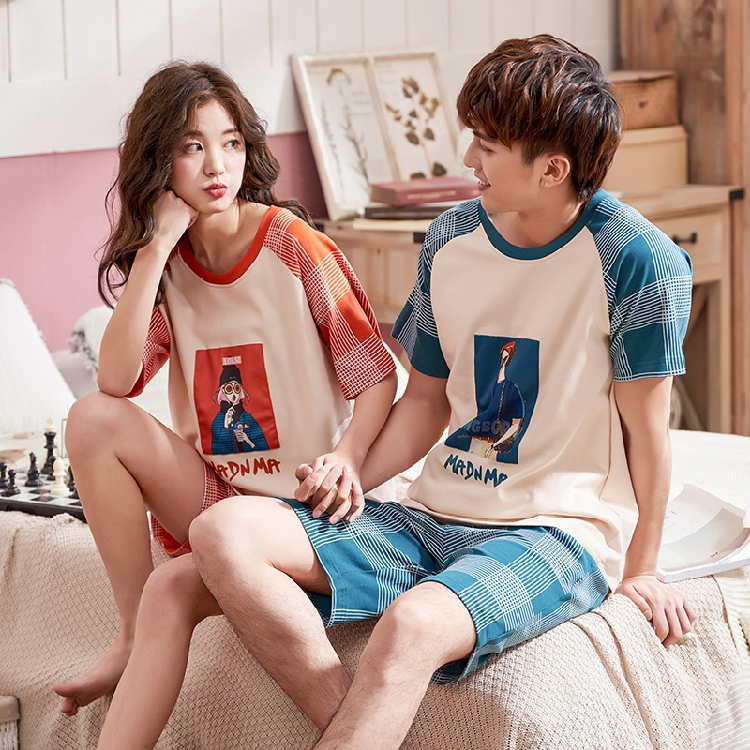 2020 Couple Pajama Set Summer Pyjama Femme Male Cotton Short Sleeved Men And Women Sleepwear Stich Pijama Casual Lover Home Wear