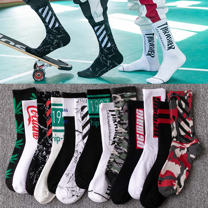 5 Pair Street Fashion Hip Hop Unisex Sports Street Fashion Skateboard Cool Cotton Socks Harajuku Style Retro Male Weed Socks