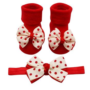 Skarpetki dla noworodków + 1PC pas do włosów maluch kokardka dziewczęca punkt fali antypoślizgowe skarpetki śliczne buty носки детские ##2 tanie i dobre opinie MUQGEW Na co dzień Baby Anti-slip Socks Stałe COTTON Poliester Spandex Cotton Unisex