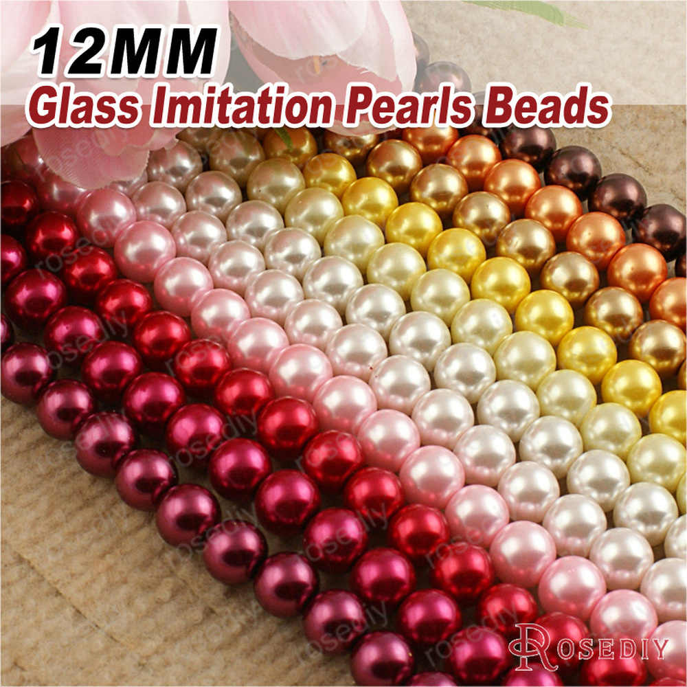 (A011) 3mm 4mm 5mm 6mm 8mm 10mm 12mm 14mm 16mm negro blanco tono marrón perlas de vidrio teñido Color perlas de imitación