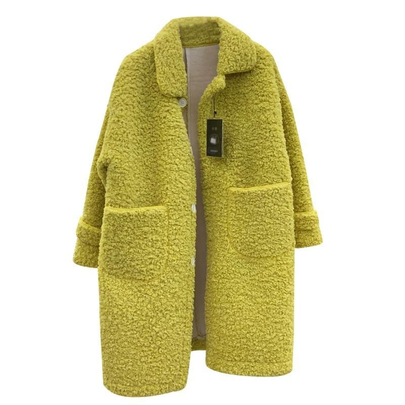 Peiqilp Womens Plus Size Fashions Winter Faux Sheepskin Fur Cashmere Coat New Korean Loose Woolen Long Coat Female Jacket PQLP05