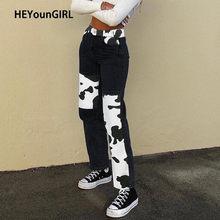 سروال جينز للسيدات مطبوع عليه البقرة من heyungirl Y2K بنطال كابريس هاراجوكو 90s أسود طويل بنطلون للسيدات للشارع