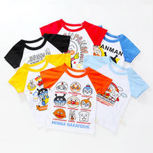 New Anpanman Kids Tees For Summer Children Cartoon Baby Boys Girls T-Shirts Clothes Cotton Toddler Tops 18M-8Y 7 Colors new spring boys girls cartoon cotton tattoo t shirts children tees boy girl long sleeve t shirts kids tops baby clothes 12m 6y