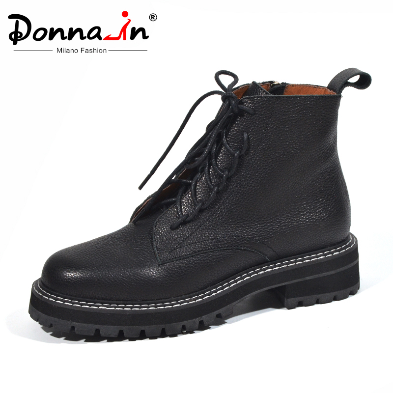 Donna-in Autumn Woman Boots With Thick Bottom Black Lace Up Ankle Boots Women Genuine Leather Stylish Zip Platform shoes Female