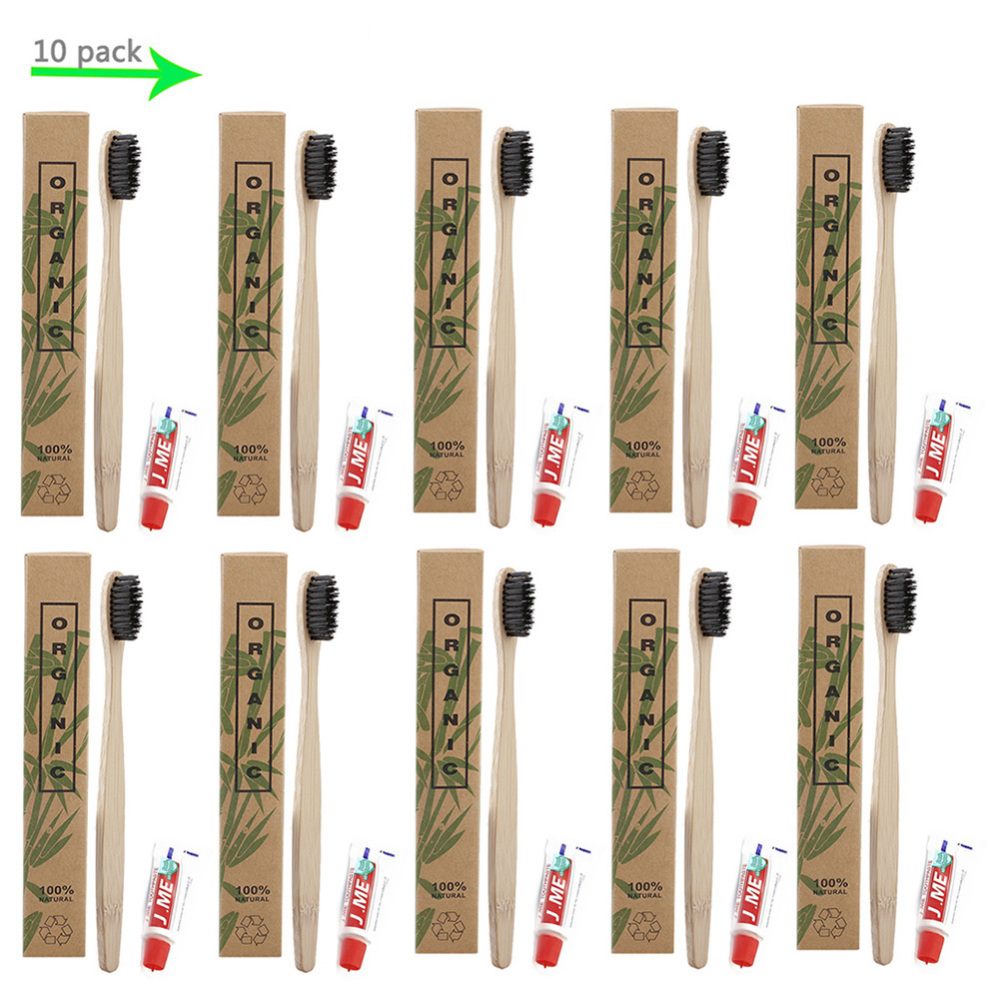 10 Sets eco-friendly bambooToothbrush with Disposable Toothpaste Oral Care Kit Travel Teeth oral care wholesale for hotel brush image