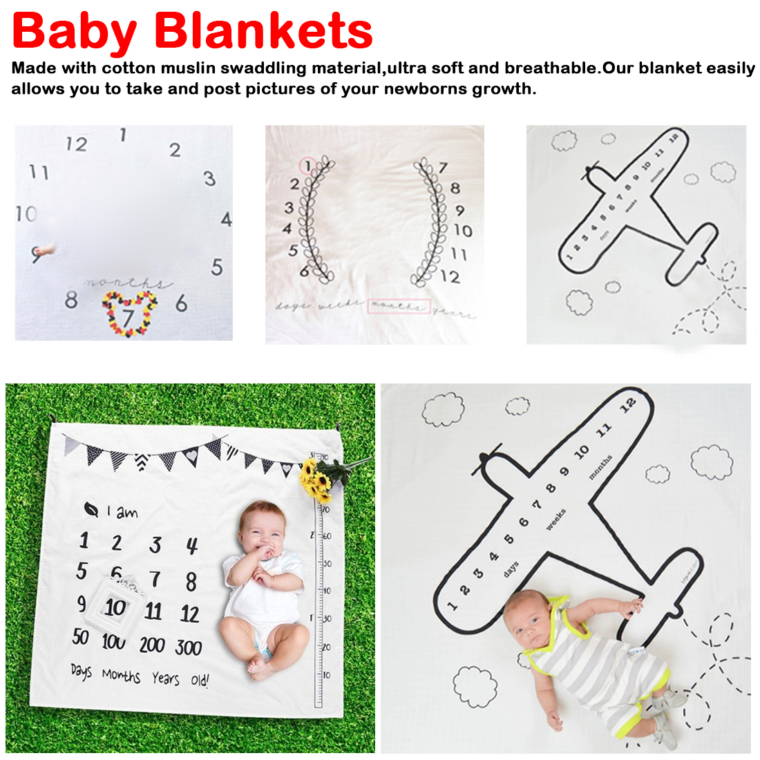 Newborn Baby 12 Month Growth Photography Background Cloth Props Cotton Blanket