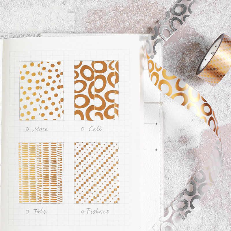 Bonita cinta Washi de aluminio Kawaii, cinta adhesiva de oro y plata para mascotas, álbumes de fotos para diarios, cinta adhesiva decorativa, pegatina para álbum de recortes Diy