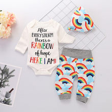 Infant Baby Girls Boys Letter Print Romper Jumpsuit Rainbow Pants Outfits Set(China)