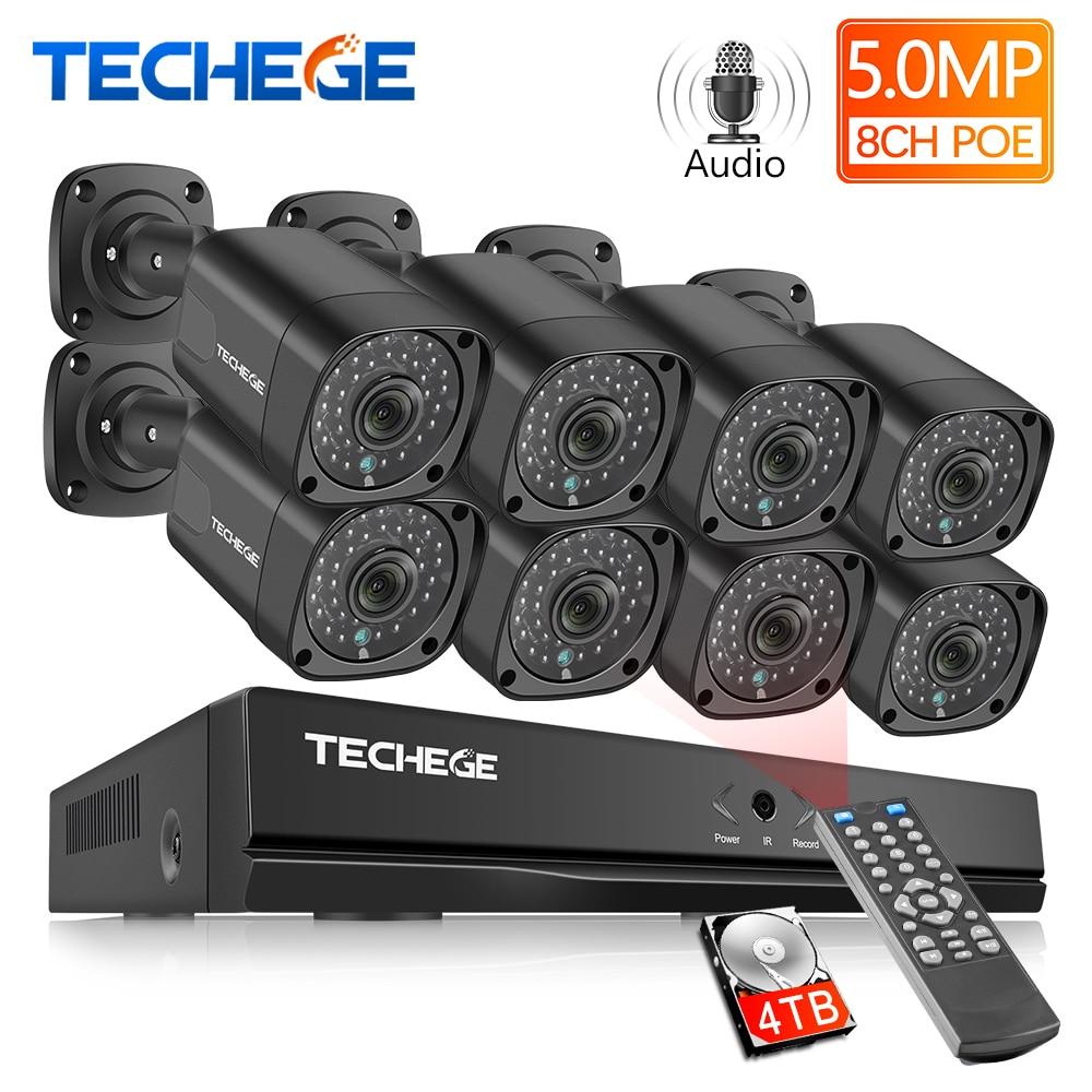 Techege h.265 8ch 5mp poe nvr sistema de câmera cctv super hd 5mp poe ip câmera ao ar livre à prova dwaterproof água kit vigilância de segurança vídeo