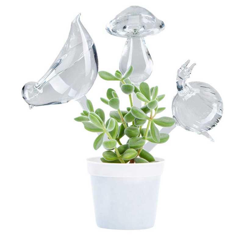 3 Pack Pianta Waterer di Auto Irrigazione Globi, Forma di Uccello Soffiato a Mano Trasparente Mini Durable Trasparente di Vetro Aqua Lampadine