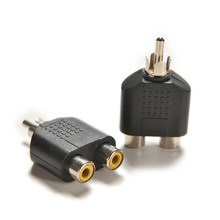2 pcs 1 Male to 2 Female RCA Cable Adapter Connector RCA Y Splitter Audio Video Plug Converter(China)