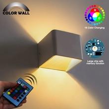 купить Indoor 3W RGB LED Ceramic Paint Wall Sconce AC85-265V Cube Wall Lamp Night Light for Hotel Foyer TV Loft Decoration Fixture Lamp по цене 179.76 рублей