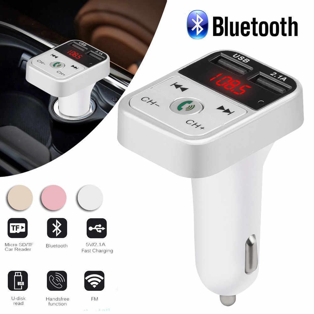Araç kiti Handsfree kablosuz bluetooth FM verici LCD MP3 oynatıcı USB şarj aleti 2.1A eller serbest hızlı şarj çift usb şarj