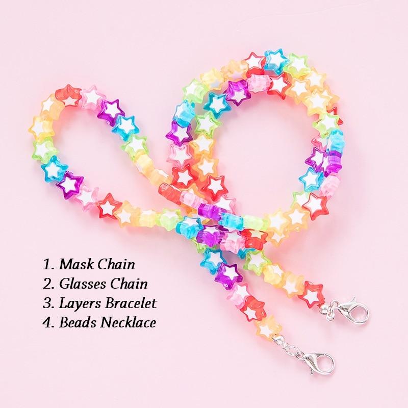 Детская цепочка для маски Makersland 60 см, Мультяшные цветные бусины, цепочка для защиты от потери, цепочка для очков, ожерелье для девочек 2021