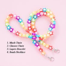 Makersland 60CM Face Mask Chain For Children Cartoon Colorful Beads Anti-lost Lanyard Chain Mask Glasses Necklace For Girls 2021