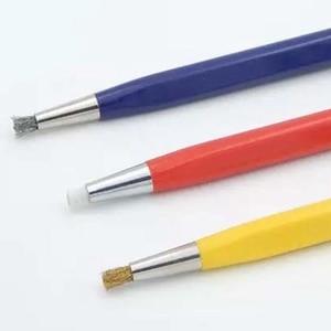 Image 3 - 3 יח\חבילה מברשת עטי זכוכית סיבים/פליז/פלדה מברשת מדבקת עט צורת שעון חלקי פולני וחלודה נקי הסרת כלי KYY9001