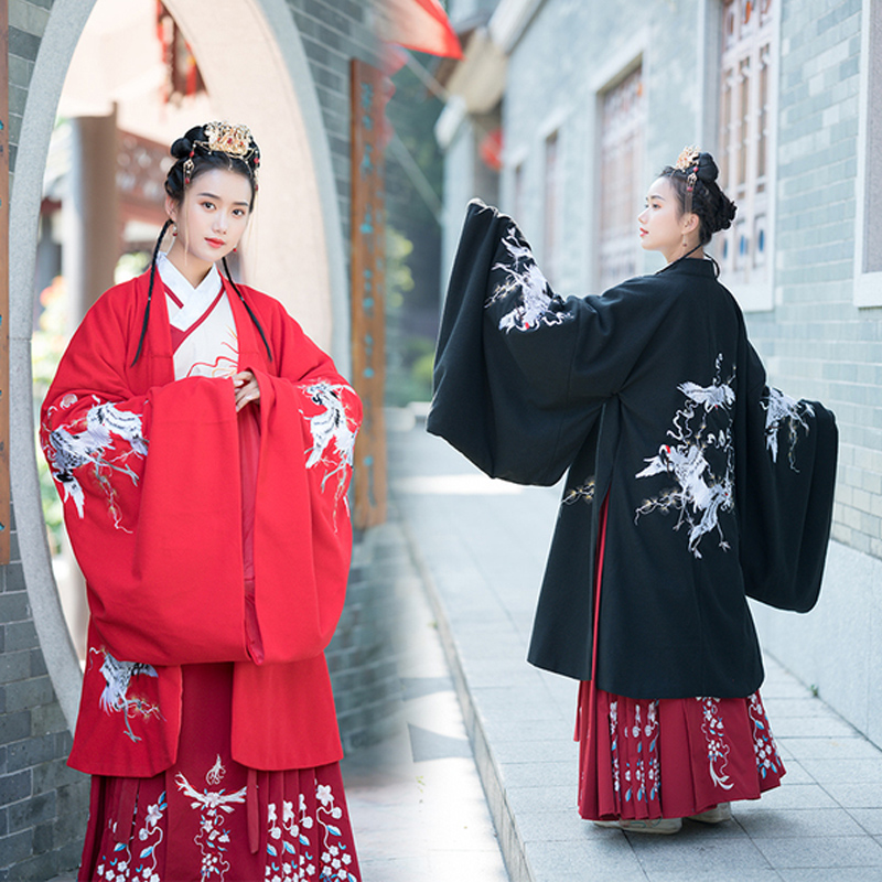 Red/Black Hanfu Coat Chinese Traditional Embroidered Wide-Sleeve Cloak Han/Tang/Song/Ming Dynasty Ancient Fairy Clothes VO415