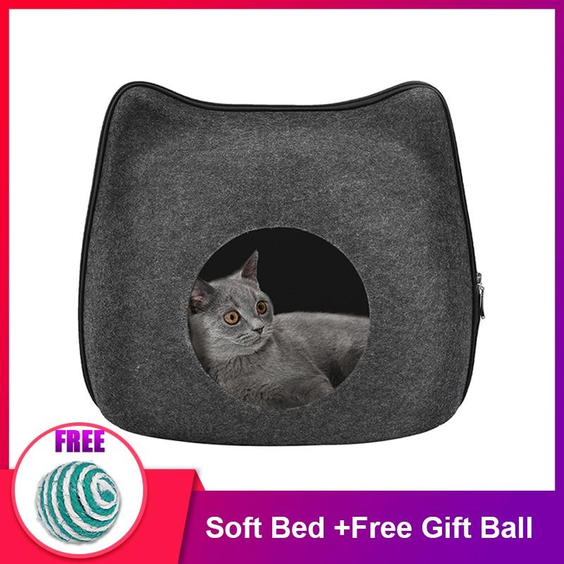 Cat Bed Cave Sleeping Bag Zipper Cat Shape Felt Cloth Cat House Bed For Cats Basket Bags Animals Beds Nest Cushion Pet Supplies