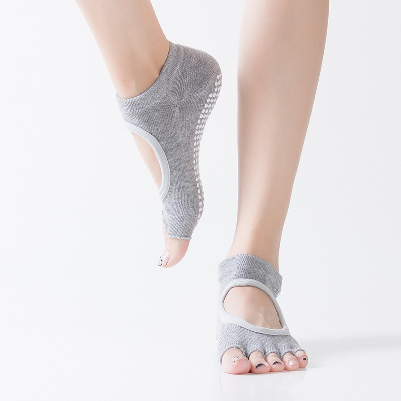 Women Yoga Dance Backless Five Toe Anti-Slip Ankle Grip Socks Dots Pilates Fitness Gym Socks Ladies Sports Socks