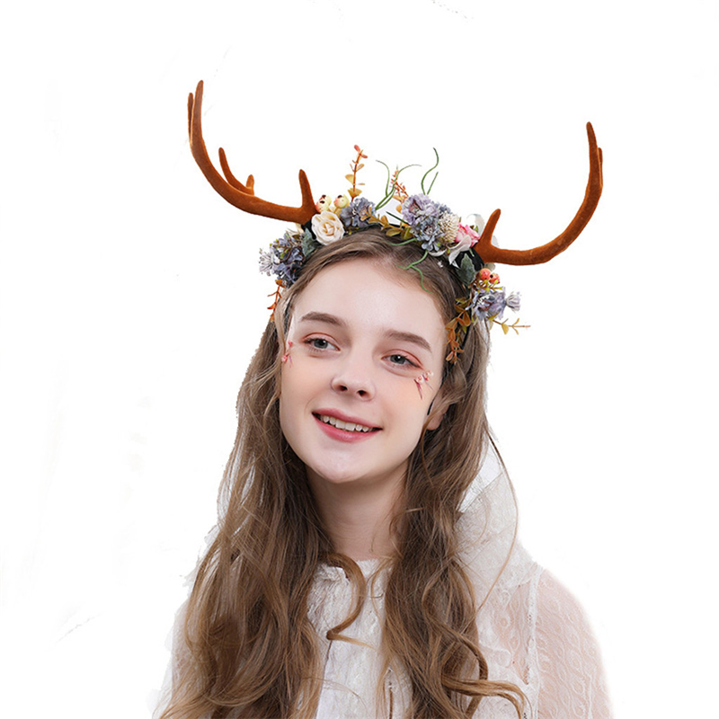 2019 Reindeer Antlers Headband Party Festival Christmas Reindeer Cosplay Flowers Antler Hairbands Deer Horn For Girl 1111