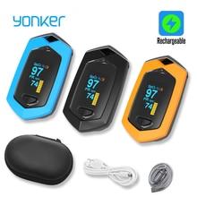Yomker الرياضة الطبية مقياس نبض الإصبع المحمولة مقياس التأكسج في الوقت الحقيقي البيانات الرياضة الدم الأكسجين التشبع قابلة للشحن SPO2