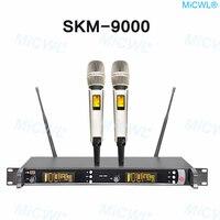 100% nuevo marca MICWL SKM9000 skm 9000 KTV puesta en escena inalámbrica 2 Sistema de micrófono Vocal portátil