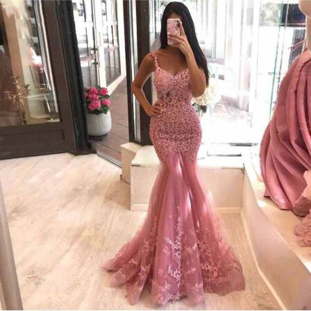 Sexy African Lace Mermaid Prom Dresses Sleeveless For Black Girl See Through Shinning Evening Party Gowns Custom Made For Women 2