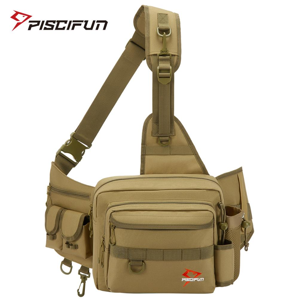 Piscifun Fishing Bag Multifunctional Fishing Tackle Bag Nylon Outdoor Water-resistant Sling Reel Lure Bag Black Khaki Camouflage