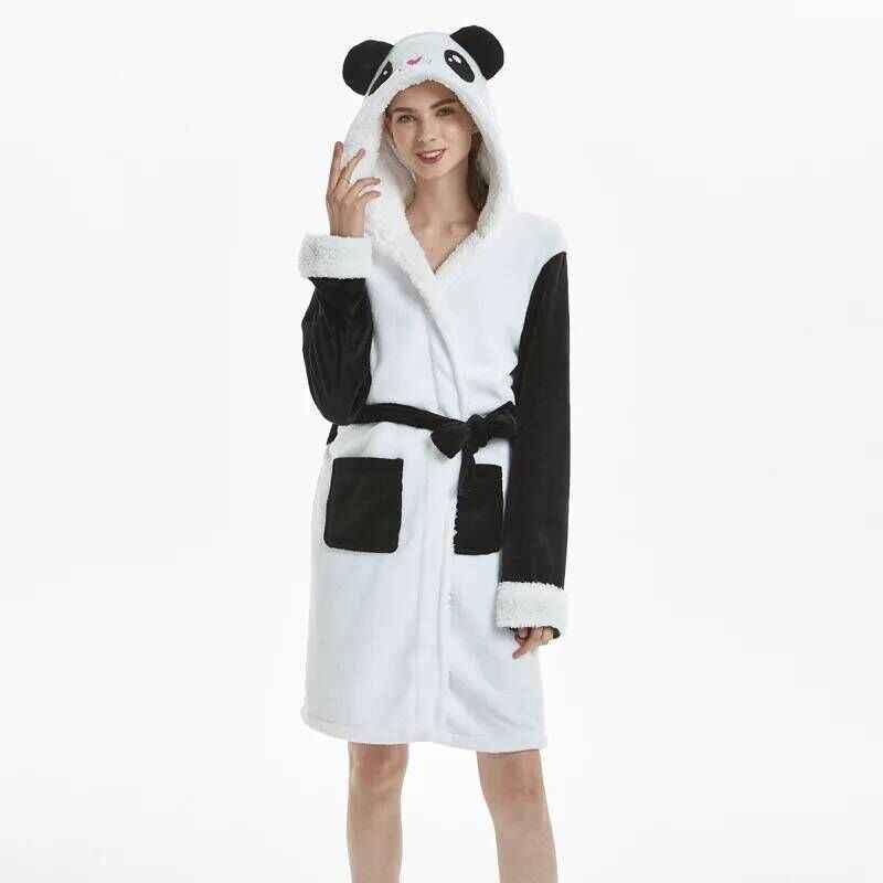 Animale Flanella Adulti Telo Da Bagno Accappatoio Indumenti Da Notte Delle Donne Degli Uomini Accappatoio di Spessore Caldo Robe Inverno Unisex Panda Unicorno Pigiama Peluche
