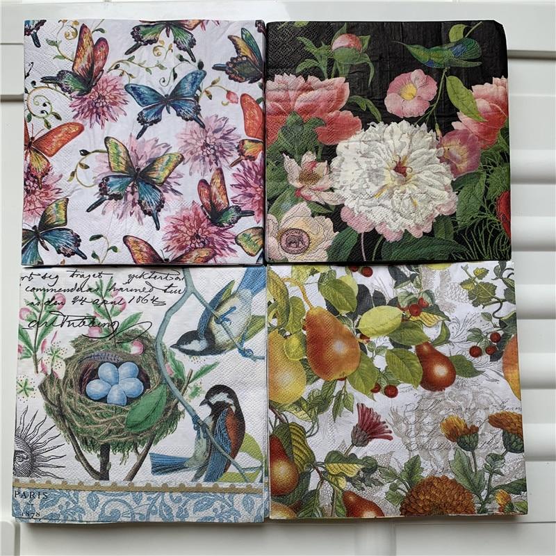 Decoupage Wedding Serviettes Paper Napkin Elegant Tissue Pink Flower Butterfly Bird Net Pear Birthday Beautiful Party Decor 3ply
