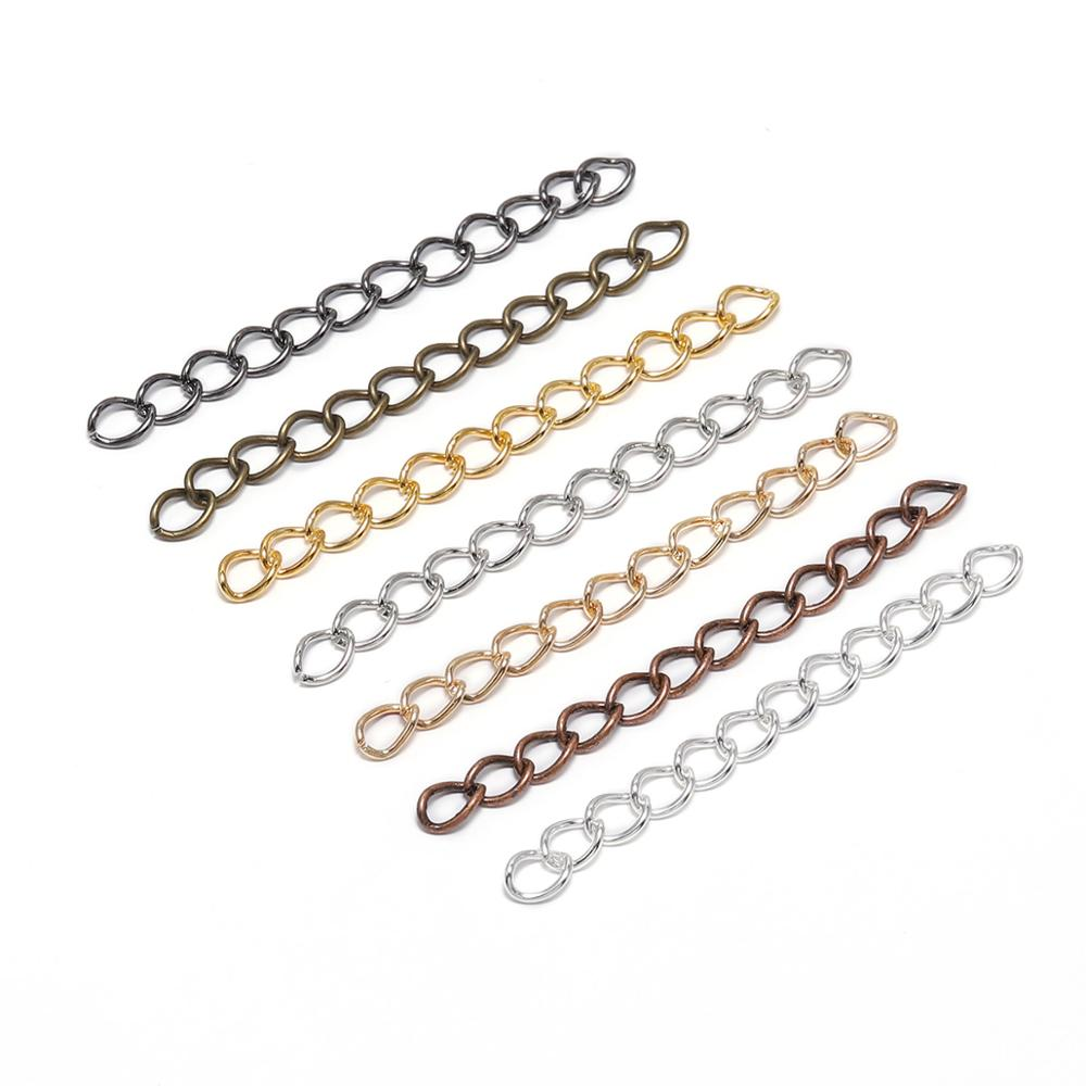 100pcs/lot Bulk Necklace Extension Chain 50mm 70mm Bracelet Extended Chains Tail Extender Supplie For Jewelry Making Findings