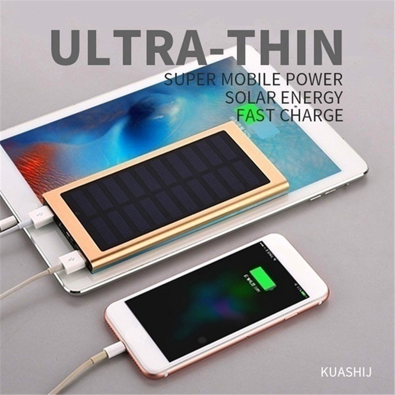 30000mAh Solar Power Bank Panel Large Capacity Travel Charger Dual USB Interface Charger Mobile Power Portable Fast Charger