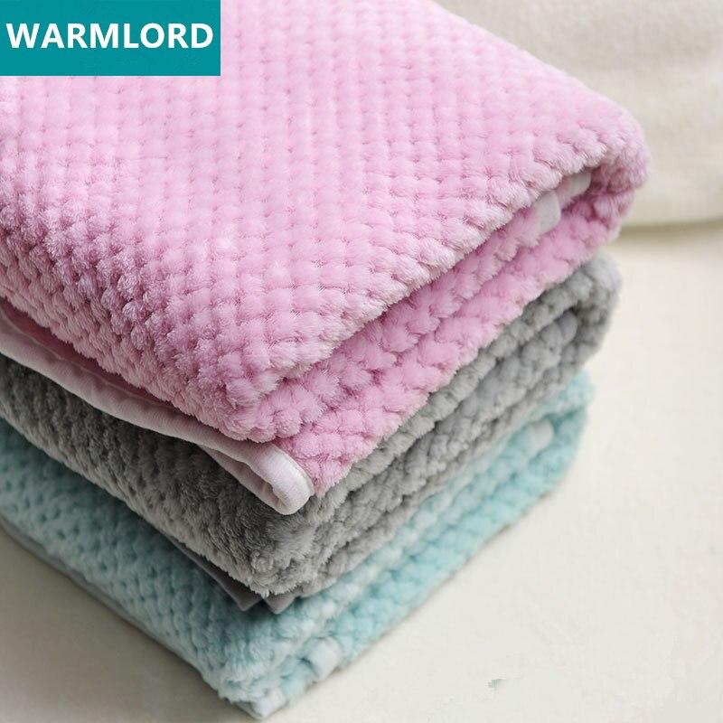 3D Fluffy Plaid Kids Bed Spread Band Edge Baby Blanket Spring Toddler Quilt Coral Fleece Super Soft Furry Child Blanket