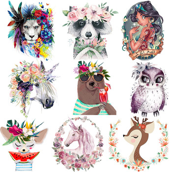Cartoon Animal Patches Clothing Washable Iron On Heat Transfer Fashion Diy Accessory Stickers Sticker For