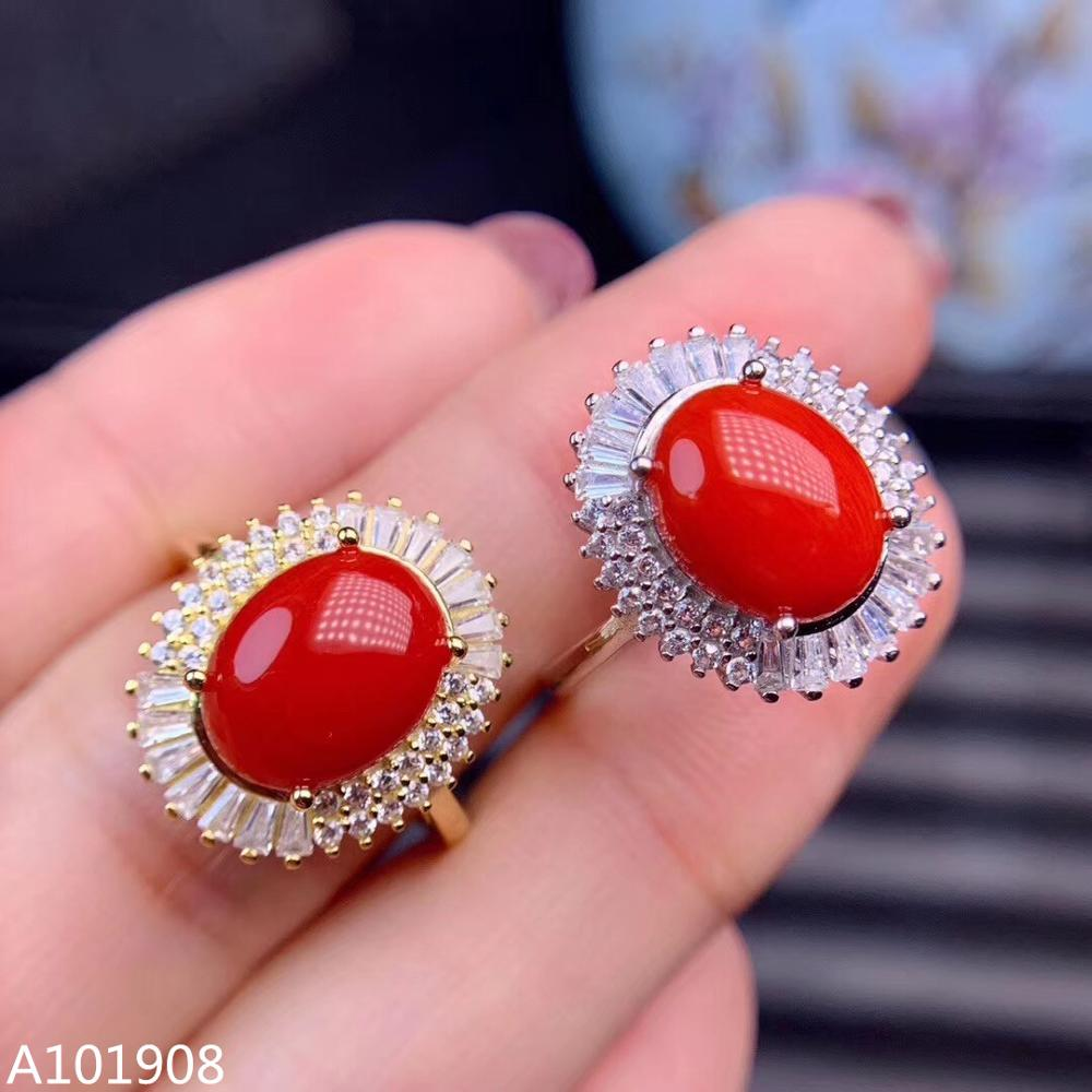 Jewelry Coral-Ring Ring-Support 925-Sterling-Silver Natural Women's Inlaid Red KJJEAXCMY