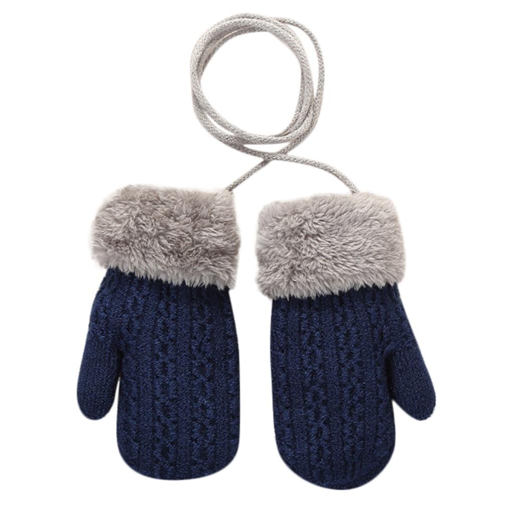 Теплые зимние Лоскутные рукавицы для маленьких девочек и мальчиков; милые детские перчатки; теплые зимние перчатки на весь палец - Цвет: Синий