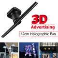 Светодиодный 3D голографический проектор Голографический рекламный дисплей вентилятор уникальный светодиодный световая рекламная лампа US...