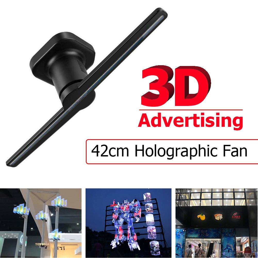 LED 3D Hologram Projector Holographic Advertisement Display Fan Unique LED Light Advertising Lamp US/EU/ Plug-in Advertising Lights from Lights & Lighting