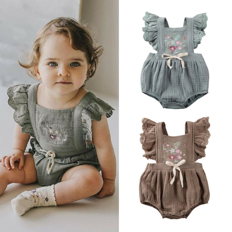 PUDCOCO Newborn Infant Baby Girl Clothes Ruffle Romper Jumpsuit Floral Summer Outfit 0-18M