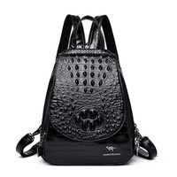 2019 Crocodile Pattern Leather Backpack Women Luxury Backpack Female Leather Knapsack Bag Elegant Ladies Shoulder Bag Sac A Dos
