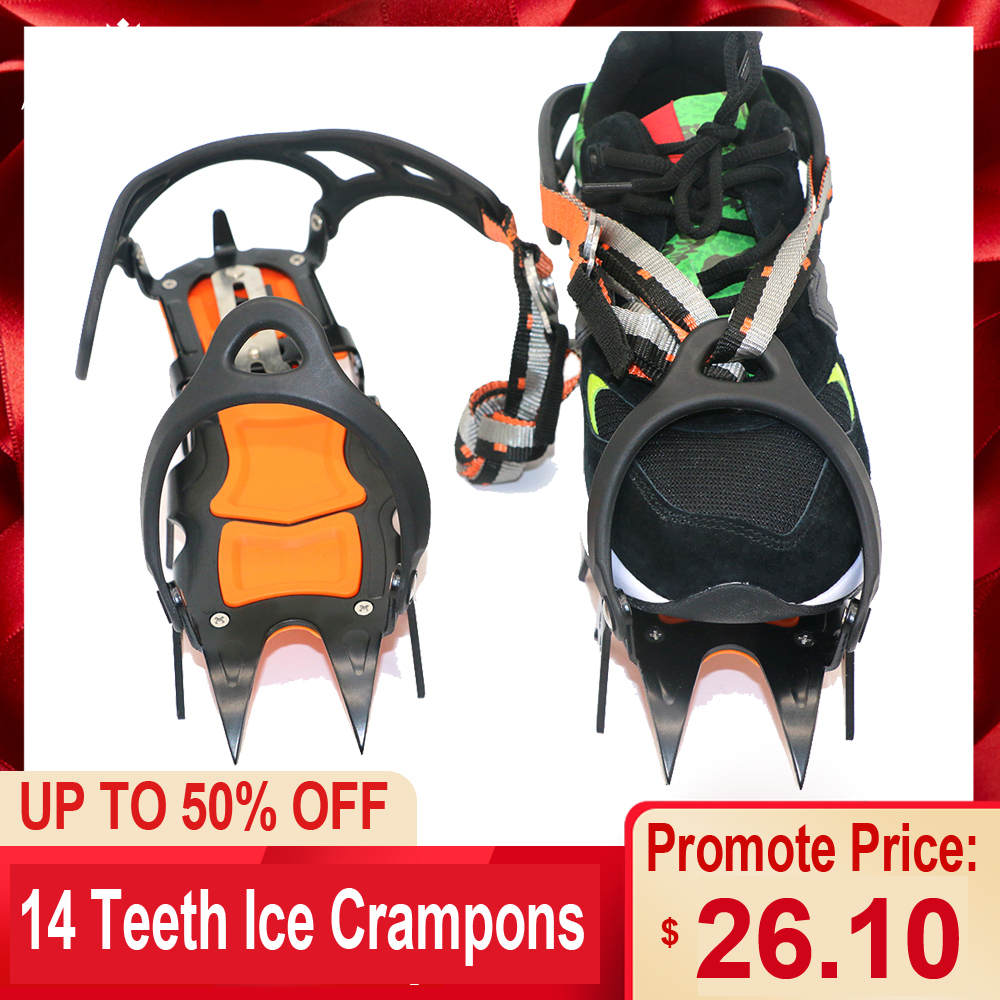 14 Teeth Ice Crampons Winter Snow Boot Shoes Ice Gripper Anti-skid Ice Spikes Snow Traction Cleats Camping Outdoor Tool