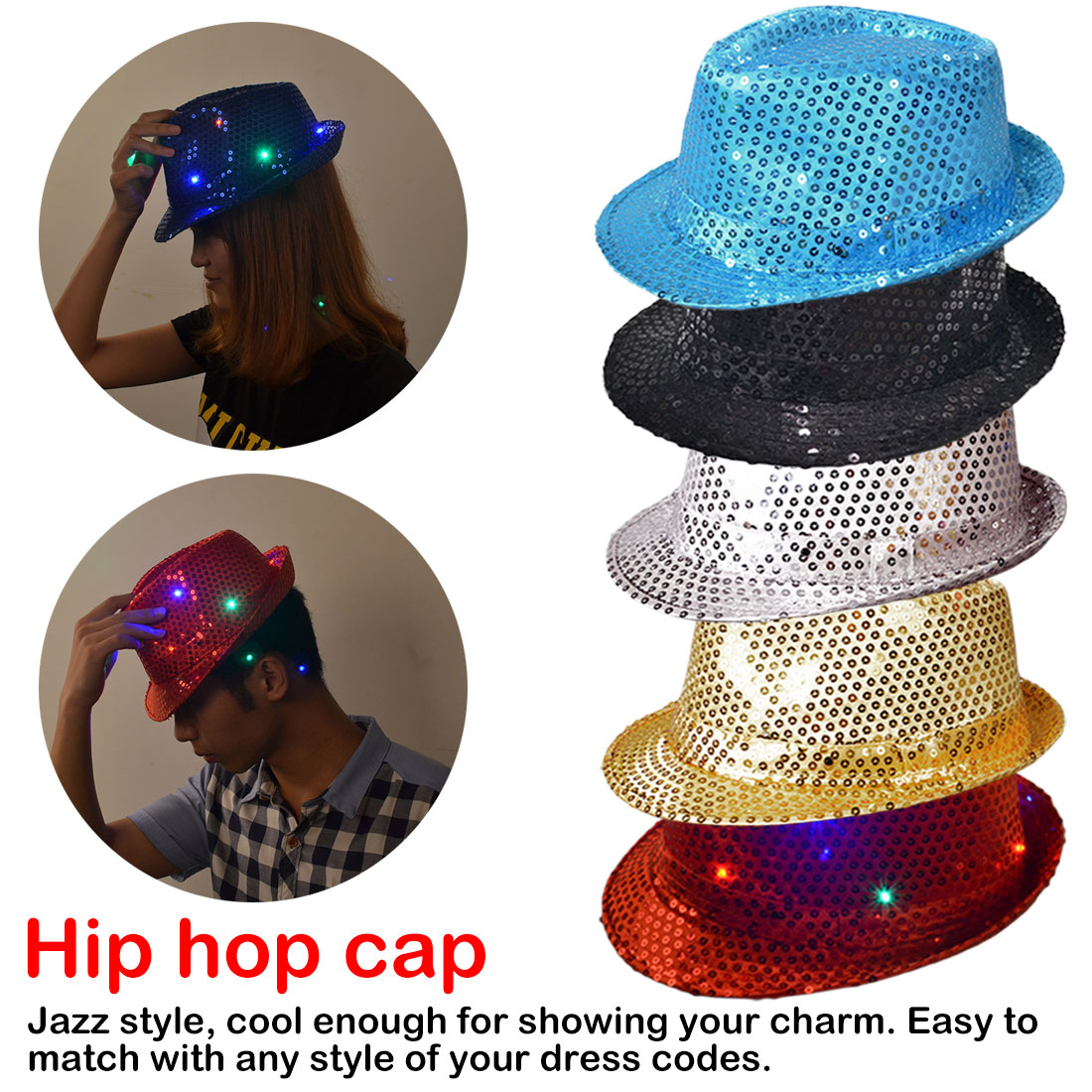 Sequins LED Light Jazz Hats Man Boy Woman Girl Flashing Birthday Party Cap Wedding Decoration Halloween Hats Caps