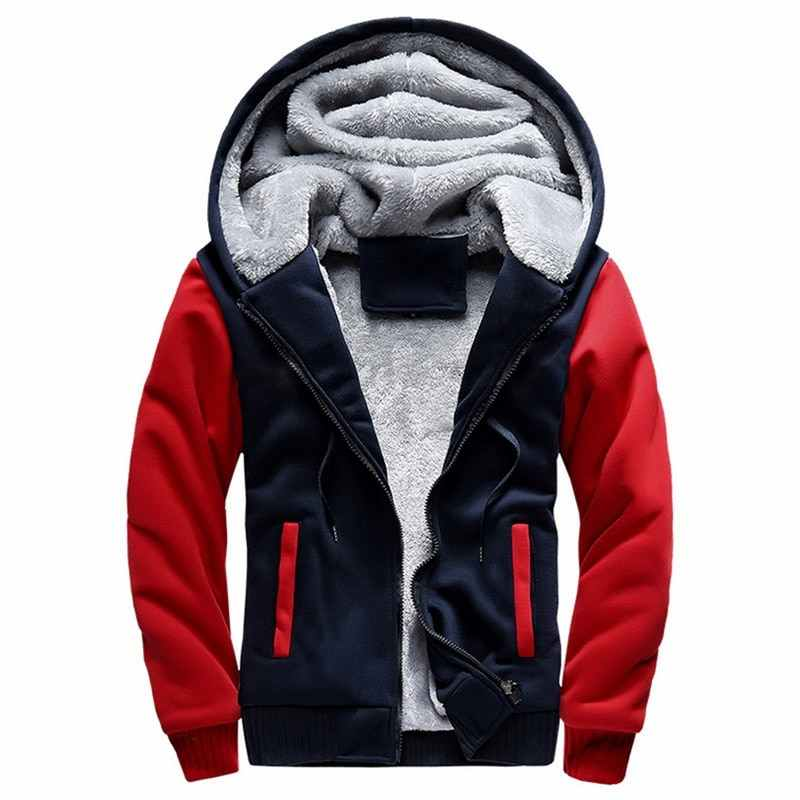 Winter Men Jackets Fleece Warm Hood Thick Parka Velvet Windproof Coats Cardigan Sweatshirts Hoodies Zipper Men Hoodie Jacket